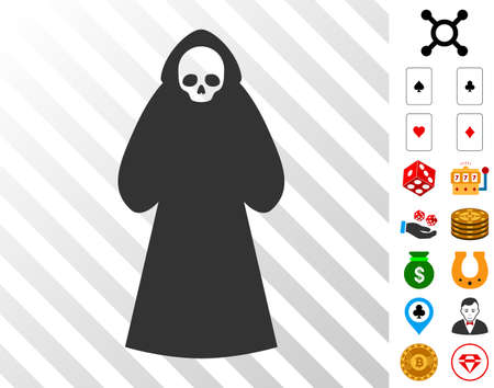 Death Hood Man pictograph with bonus casino pictograms. Vector illustration style is flat iconic symbols. Designed for casino ui.
