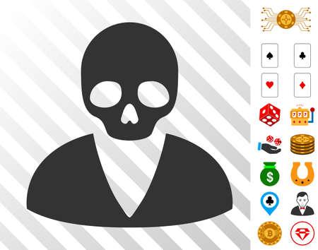 Death Man pictograph with bonus casino symbols. Vector illustration style is flat iconic symbols. Designed for gamble software.