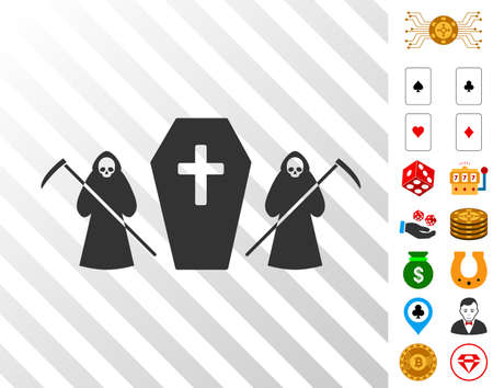 Scytheman Coffin Guard pictograph with bonus casino clip art. Vector illustration style is flat iconic symbols. Designed for gambling websites.