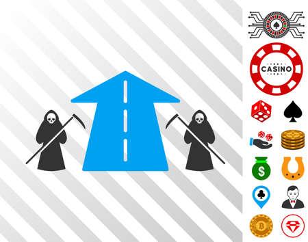 Scytheman Future Road pictograph with bonus casino pictographs. Vector illustration style is flat iconic symbols. Designed for casino websites. Illustration