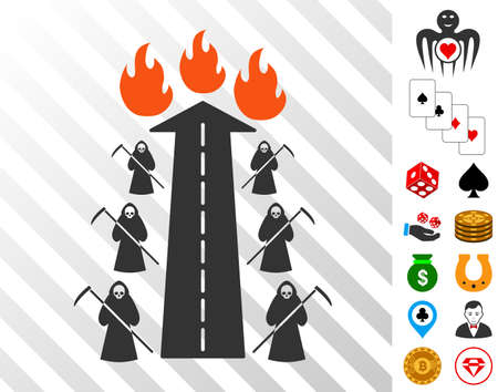 Road To Hell Fire pictograph with bonus gambling design elements. Vector illustration style is flat iconic symbols. Designed for casino apps.