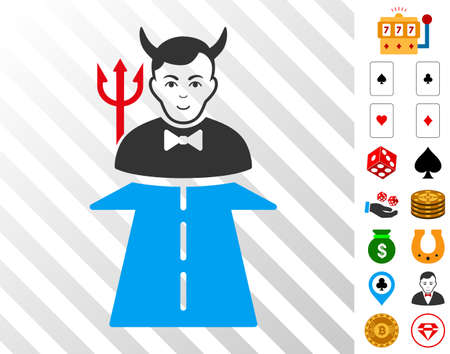 Road To Hell Monster pictograph with bonus gambling clip art. Vector illustration style is flat iconic symbols. Designed for casino gui.
