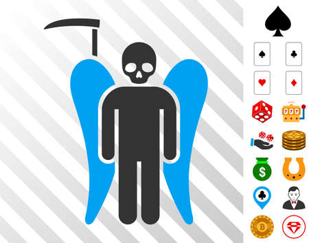 Scythe Death Angel icon with bonus gamble pictographs. Vector illustration style is flat iconic symbols. Designed for gamble gui.