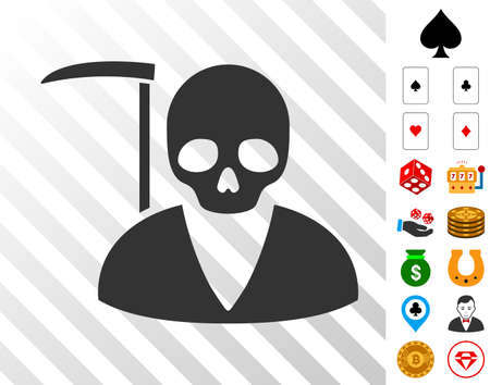 Scytheman pictograph with bonus gambling images. Vector illustration style is flat iconic symbols. Designed for casino websites. Illustration