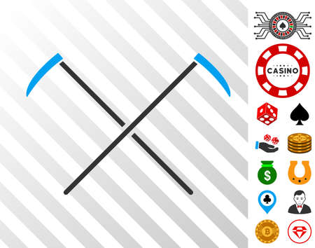 Scythes icon with bonus gambling images. Vector illustration style is flat iconic symbols. Designed for gamble apps.