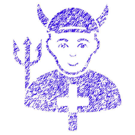 Grunge Satan Priest rubber seal stamp watermark. Icon symbol with grunge design and dust texture. Unclean vector blue sign satan priest.