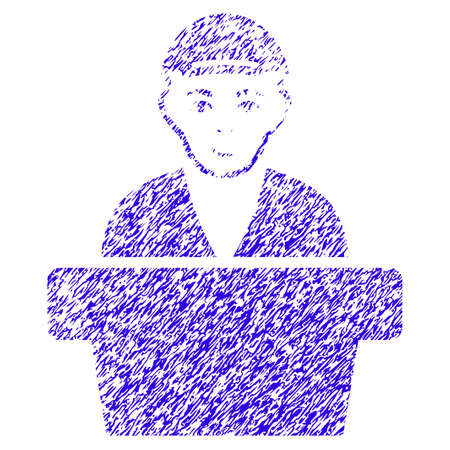 Grunge officiële klerk rubber zegel stempel watermerk. Pictogramsymbool met grungeontwerp en onreine textuur. Onreine vector blauwe embleem officiële bediende.