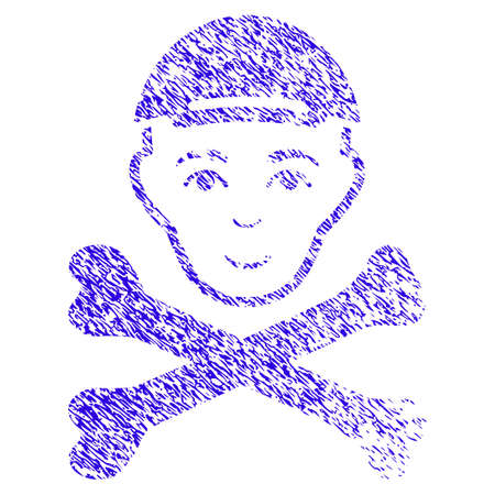 Boy Head with cross bones rubber seal stamp