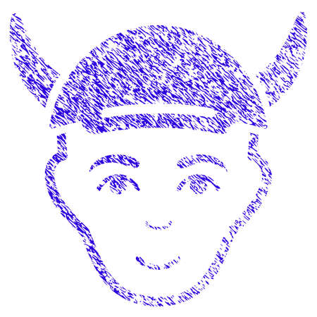 Grunge Horned Boy Head rubber seal stamp