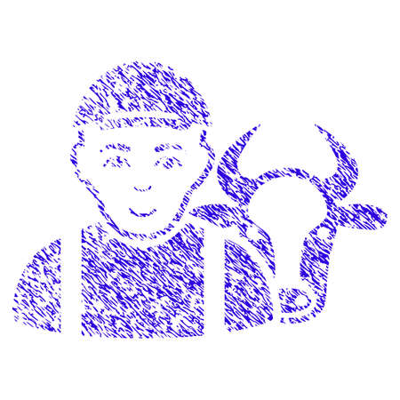 Grunge Cow Farmer rubber seal stamp watermark. Icon symbol with grunge design and unclean texture. Unclean vector blue sign cow farmer. Illustration