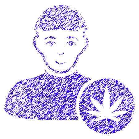Cannabis Dealer rubber seal stamp watermark in grunge texture and blue color.