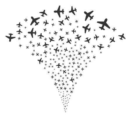 Airplane fireworks fountain in flat iconic symbols. Illustration