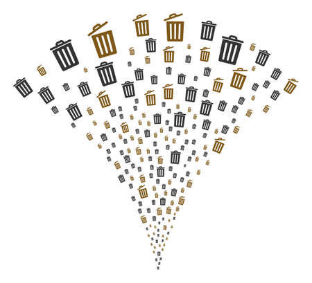 Dustbin stream fountain. Vector illustration style is flat iconic symbols. Object fountain created from random pictograms as dustbin fireworks.