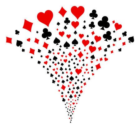 Spielkartenanzüge platzen Springbrunnen. Vektorillustrationsart ist flache ikonenhafte Symbole. Objektbrunnen kombiniert aus zufälligen Piktogrammen als Spielkarten-Feuerwerk.