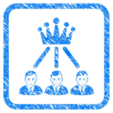 Hierarchy Men rubber seal stamp imitation. Icon vector symbol with grunge design and dust texture in rounded rectangle. Scratched blue emblem on a white background.