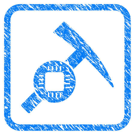 Electronic Mining Hammer rubber seal stamp watermark. Icon vector symbol with grunge design and corrosion texture inside rounded rectangle. Scratched blue stamp imitation on a white background.