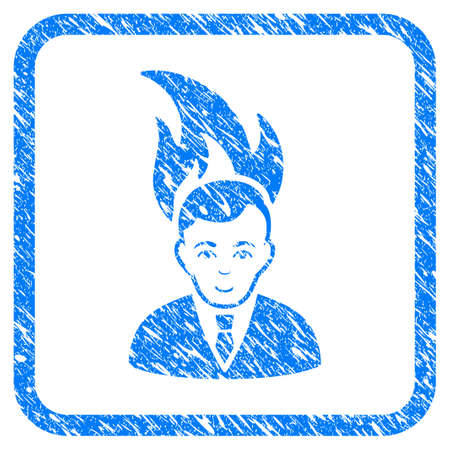 Fired Manager rubber seal stamp watermark. Icon vector symbol with grunge design and dust texture inside rounded rectangle. Scratched blue emblem on a white background.