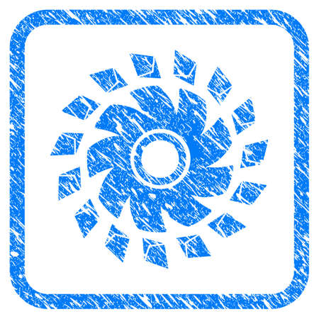 Ethereum Propeller rubber seal stamp imitation. Icon vector symbol with grunge design and dirty texture in rounded frame. Scratched blue stamp imitation on a white background.