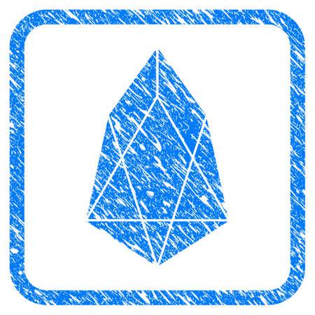 Eos moneda sello de goma sello marca de agua. Símbolo de vector icono con diseño grunge y textura sucia en cuadrado redondeado. Pegatina azul rayado sobre un fondo blanco.