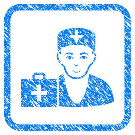 First-Aid Doctor rubber seal stamp imitation. Icon vector symbol with grunge design and dust texture inside rounded squared frame. Scratched blue stamp imitation on a white background. Vectores