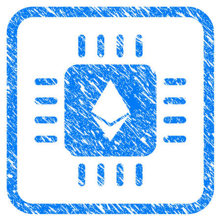 Ethereum Processor Chip rubber seal stamp watermark. Icon vector symbol with grunge design and dust texture in rounded square. Scratched blue stamp imitation on a white background.