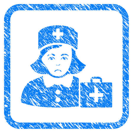 First-Aid Nurse rubber seal stamp watermark. Icon vector symbol with grunge design and dirty texture in rounded squared frame. Scratched blue emblem on a white background.