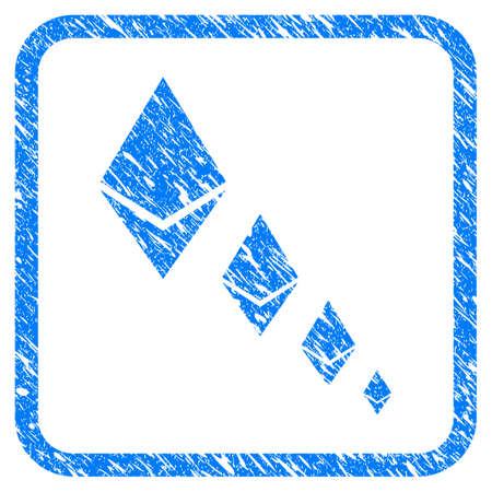 Ethereum Crystal Defaltion rubber seal stamp imitation. Icon vector symbol with grunge design and corrosion texture inside rounded rectangle. Scratched blue stamp imitation on a white background.