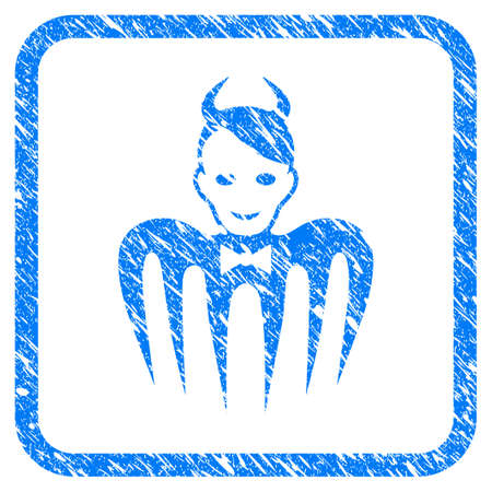 Devil Spectre rubber seal stamp watermark. Icon vector symbol with grunge design and unclean texture inside rounded rectangle. Scratched blue emblem on a white background.