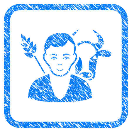 Farmer rubber seal stamp imitation. Icon vector symbol with grunge design and unclean texture in rounded square. Scratched blue stamp imitation on a white background.