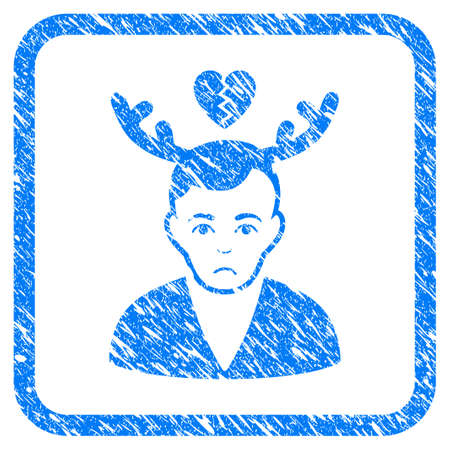 Deceived Horned Husband rubber seal stamp watermark. Icon vector symbol with grunge design and corrosion texture inside rounded squared frame. Scratched blue sign on a white background.