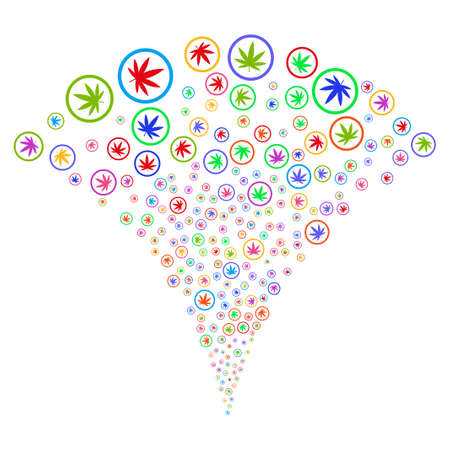 Multicolored Cannabis festive fountain. Object fountain made from random cannabis design elements as fireworks. Vector illustration style is flat iconic symbols with psychedelic colors.