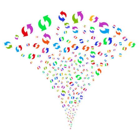 Fontaine explosive multicolore Refresh. Fontaine d'objets créée à partir de pictogrammes de rafraîchissement aléatoires comme feux d'artifice. Le style d'illustration vectorielle est des symboles emblématiques plats avec des couleurs psychédéliques. Banque d'images - 95777234