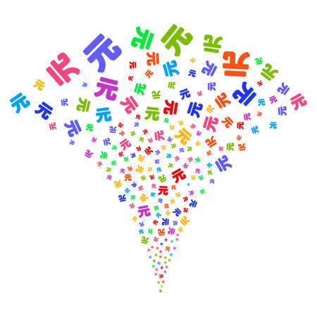 Multi Colored Yuan Renminbi exploding fountain. Object fountain done from random Yuan Renminbi pictograms as fireworks. Vector illustration style is flat iconic symbols with psychedelic colors.