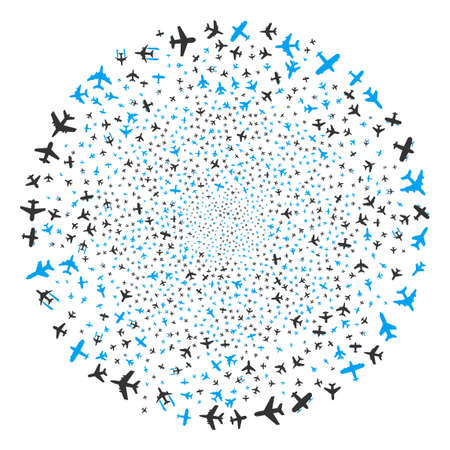 Airplanes explosion globula. Object pattern constructed from random airplanes icons as explosion circle. Vector illustration style is flat iconic symbols. Illustration
