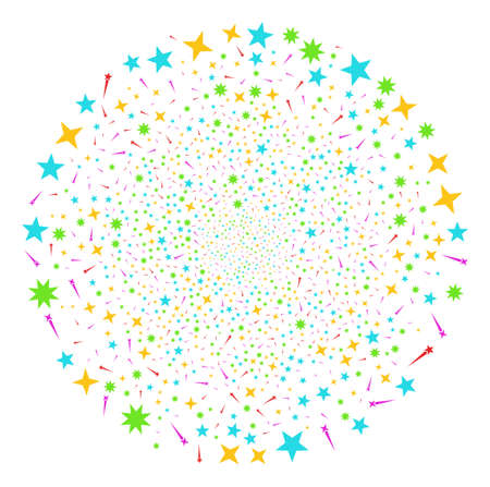 Confetti Stars festive round cluster. Object pattern combined from random confetti stars icons as explosion sphere. Vector illustration style is flat iconic symbols. Illustration
