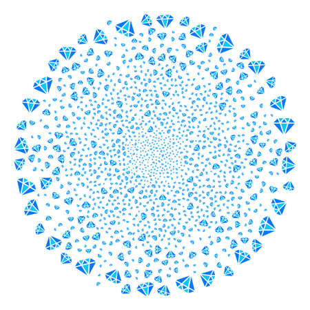 Diamond fireworks round cluster. Object pattern organized from scattered diamond pictographs as burst sphere. Vector illustration style is flat iconic symbols.