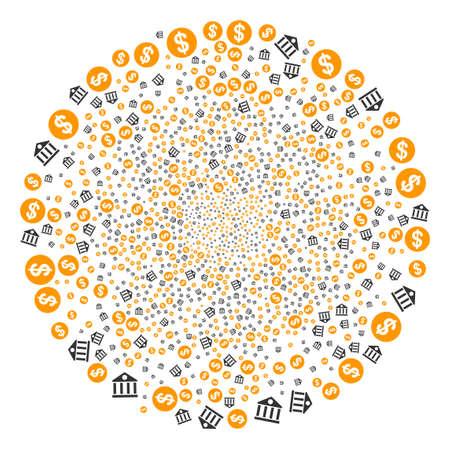 Dollar Bank burst circle. Object pattern created from random dollar bank symbols as exploding round shape. Vector illustration style is flat iconic symbols.