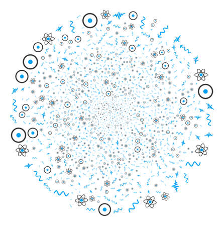 Atomic Physics fireworks globula. Object pattern organized from random atomic physics icons as exploding spheric cluster. Vector illustration style is flat iconic symbols.