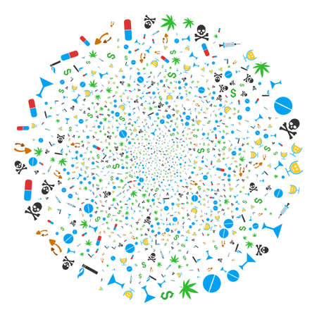Narcotic Drugs explosion sphere. Ilustrace