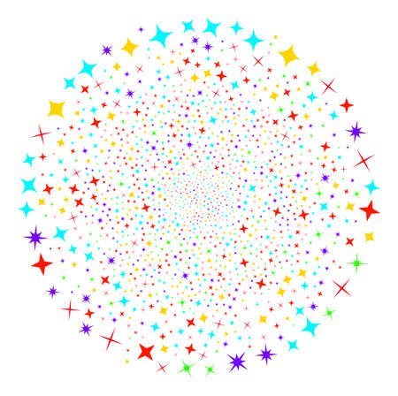Shine Stars festive round cluster. Object pattern combined from scattered shine stars pictograms as exploding spheric cluster. Vector illustration style is flat iconic symbols. Illustration