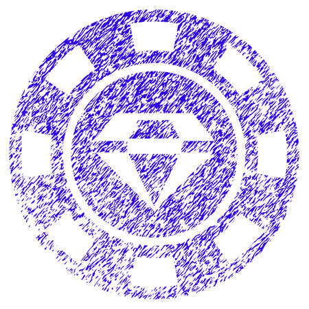 Grunge Gem Casino Chip rubber seal stamp watermark. Icon symbol with grunge design and unclean texture. Unclean vector blue sign. Illustration