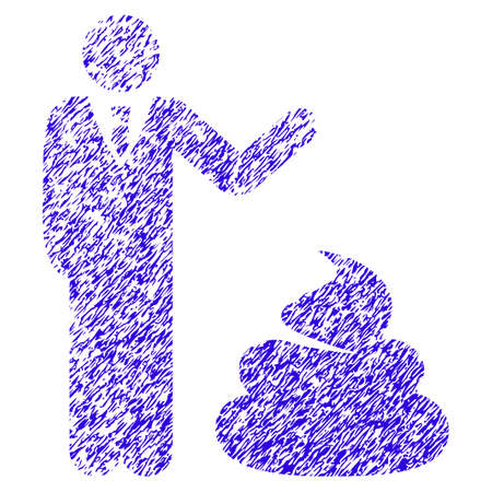Grunge Manager Show Shit rubber seal stamp watermark. Icon symbol with grunge design and unclean texture. Unclean vector blue emblem.