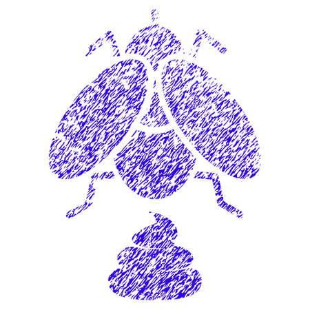 Grunge Fly Shit rubber seal stamp watermark. Icon symbol with grunge design and dust texture. Unclean vector blue emblem.