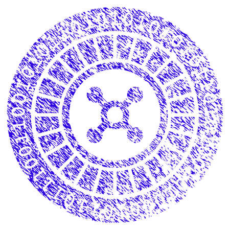 Grunge Digital Casino Roulette rubber seal stamp watermark. Icon symbol with grunge design and dust texture. Unclean vector blue sign. Illustration