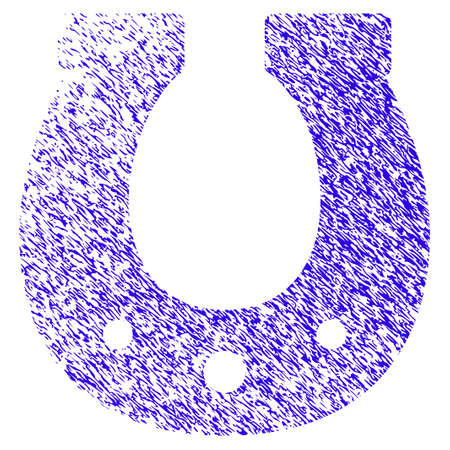 Grunge Lucky Horseshoe rubber seal stamp watermark. Icon symbol with grunge design and unclean texture. Unclean vector blue emblem.