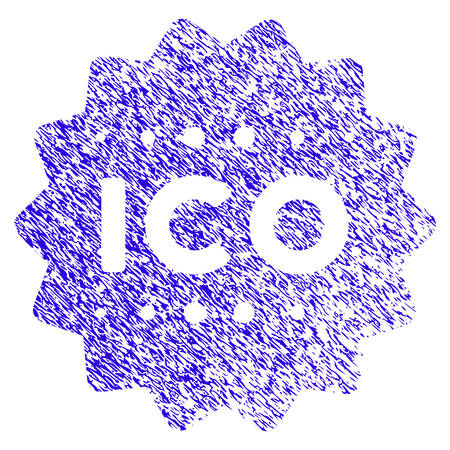 Grunge ICO Token rubber seal stamp watermark. Icon symbol with grunge design and unclean texture. Unclean vector blue sticker. Illustration