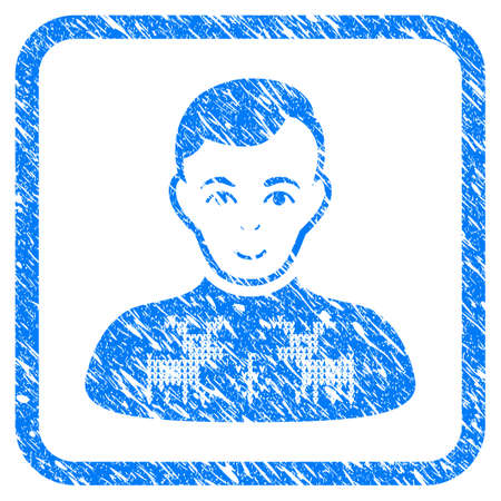 Deers Pullover Boy rubber seal stamp watermark. Icon vector symbol with grunge design and dust texture inside rounded squared frame. Scratched blue emblem on a white background.