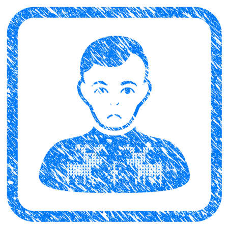 Deers Pullover Boy rubber seal stamp watermark. Icon vector symbol with grunge design and dirty texture inside rounded squared frame. Scratched blue stamp imitation on a white background. Vectores