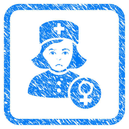 Gynecologist Lady Doctor rubber seal stamp watermark. Icon vector symbol with grunge design and dust texture in rounded square frame. Scratched blue sticker on a white background.