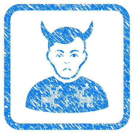 Deer Pullover on Horned man rubber seal stamp watermark. Icon vector symbol with grunge design and corrosion texture inside rounded frame. Scratched blue sign on a white background.